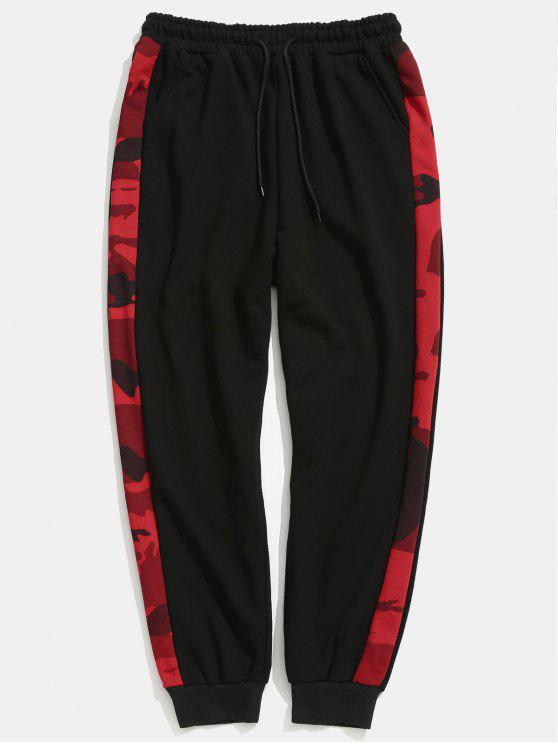 Pantaloni Da Jogging A Righe Laterali Di Camouflage - Nero 2XL