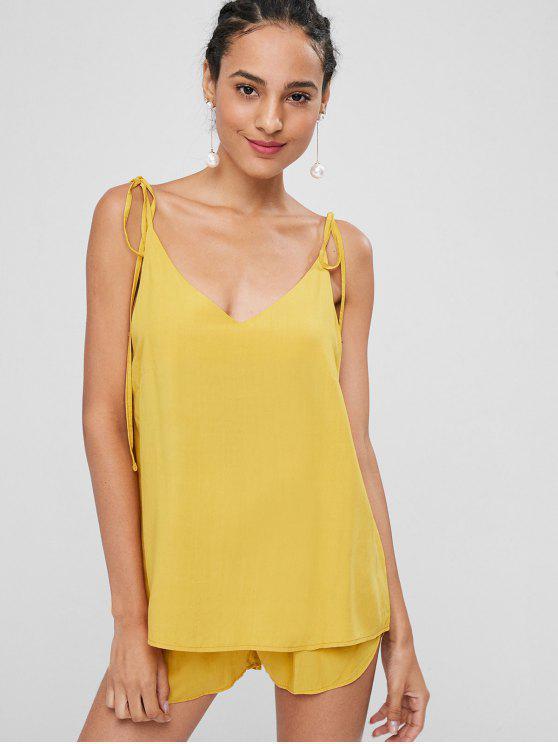 Knoten Übergroße Cami Top Und Shorts Set - Helles Gelb S