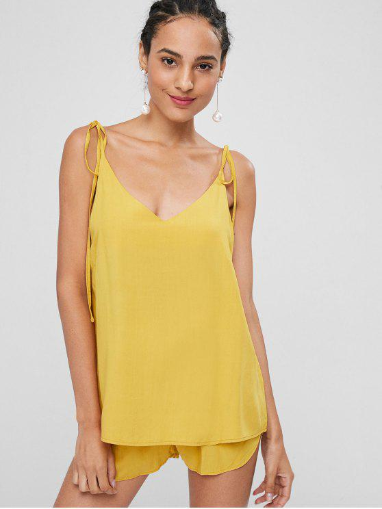 chic Knotted Oversized Cami Top and Shorts Set - BRIGHT YELLOW M