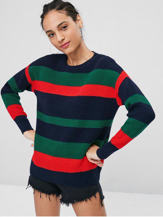 women Striped Ribbed Knit Sweater Jumper - MULTI M