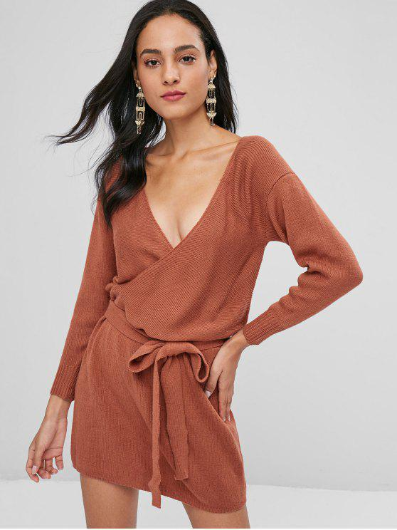 affordable Long Sleeve Surplice Sweater Dress - CHOCOLATE L