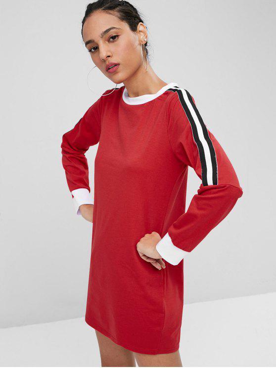 Kontrast Tunika Mini Shift Kleid - Liebes Rot L