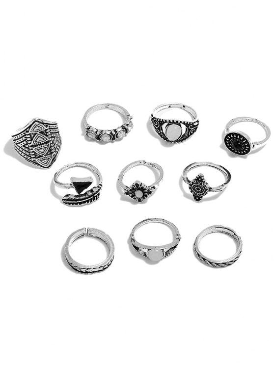 outfit Artificial Gemstone Rings Set - SILVER