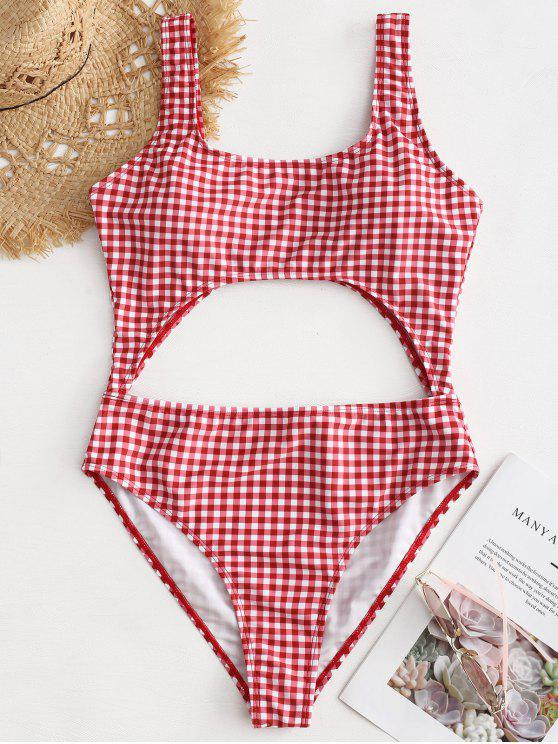 8d8e42271ee78 11% OFF] 2019 High Leg Gingham Cut Out Swimsuit In CHILLI PEPPER | ZAFUL
