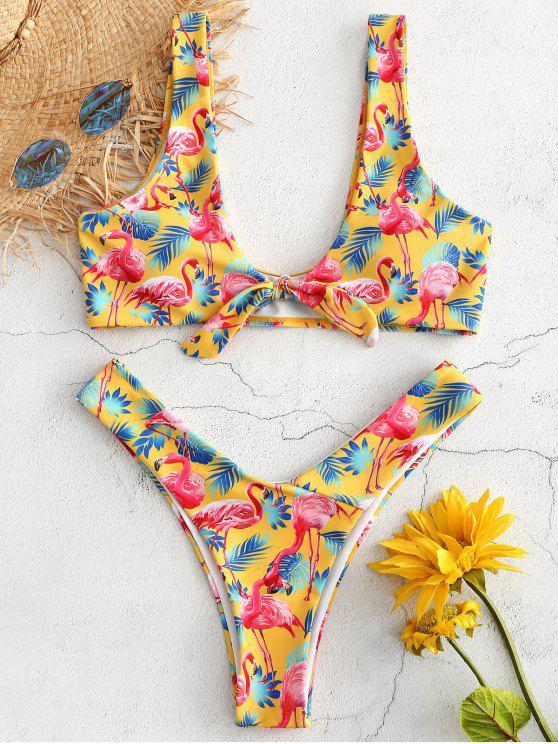 Knoten Flamingo Hohes Bein Bikini Set - Gelb S