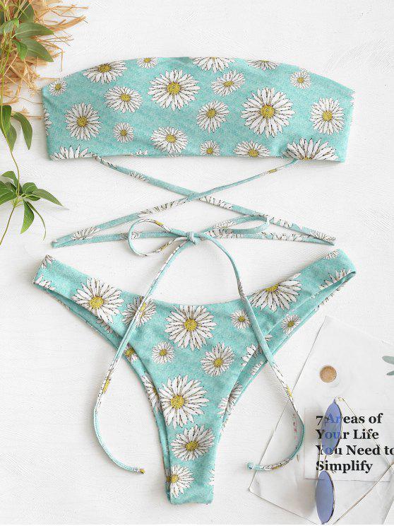 hot Daisy High Cut Bandeau Bikini Set - BLUE GREEN S