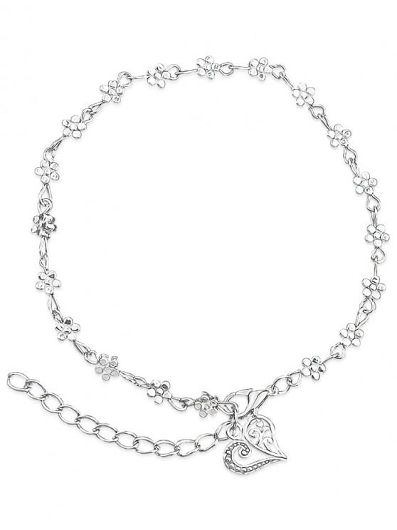 online Minimalist Floral Bead Charm Anklet - SILVER