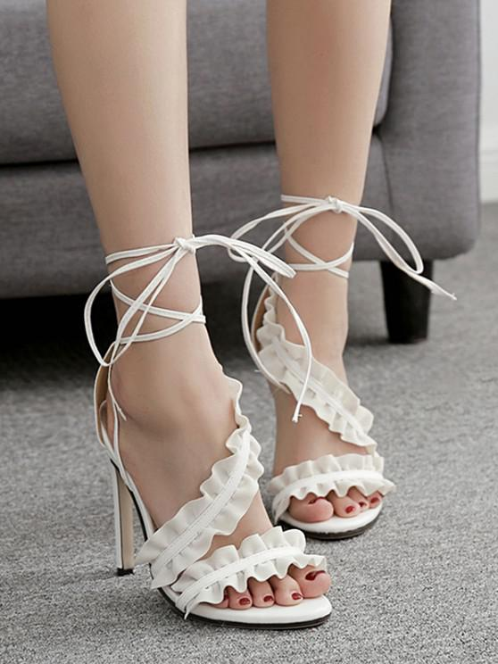 chic Lace Up Ankle Strap Ruffles Decoration Sandals - WHITE 37