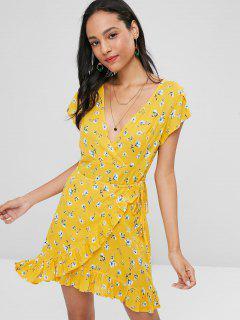 Vestido Floral Plisado Con Manga Larga - Caucho Ducky Amarillo M