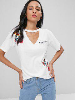 Choker Brodé T-shirt - Blanc Xl