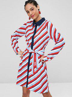Striped Roll Tab Sleeve Shirt Dress - Multi L