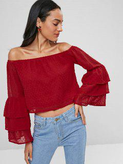 Off Shoulder Flare Sleeve Tiered Top - Love Red M
