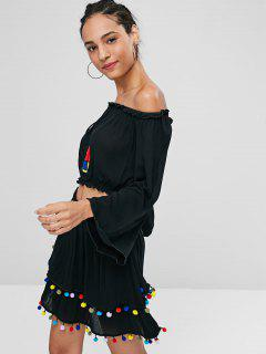 Pompoms Off Shoulder Top And Skirt Set - Black L