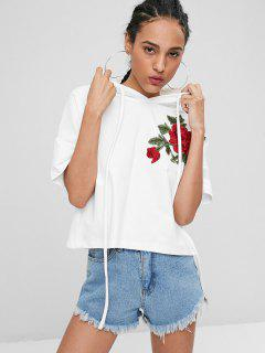 Side Slit Floral Patched Hoodie - White M
