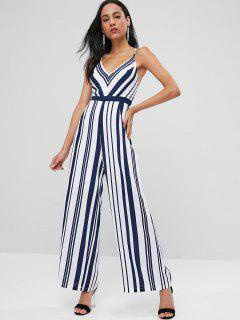 Striped Criss Cross Jumpsuit - Midnight Blue M