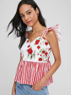 Floral Stripes Sweetheart Tank Top - Red Xl