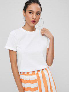 Rolled Up Sleeve Plain Tee - White M