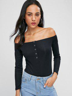 Half Button Off Shoulder Bodysuit - Black M