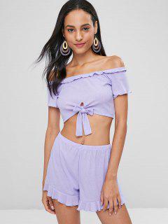 Off Shoulder Knotted Shorts Set - Lavender Blue M