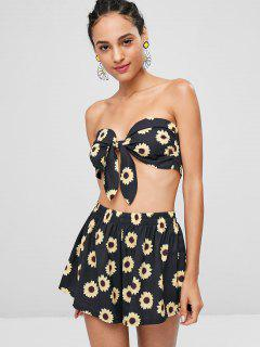 Sunflower Bandeau Top And Shorts Co Ord Set - Black S