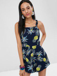 Frills Trim Pineapple Print Romper - Midnight Blue L