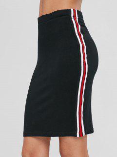 Striped Trim Fitted Mini Skirt - Black L