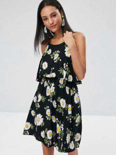 Daisy Overlay A Line Dress - Black S