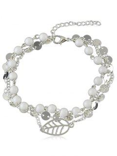 Beaded Chain Anklet With Disc - Silver