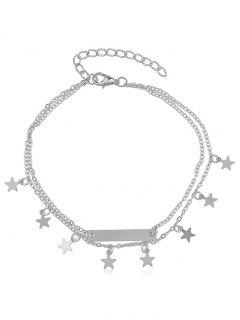 Layered Star Charm Anklet - Silver