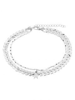 Double Layer Star Chain Anklet - Silver