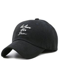 Fun Letter Embroidery Adjustable Hunting Hat - Black