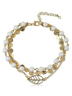 Beaded Chain Anklet With Disc - Gold