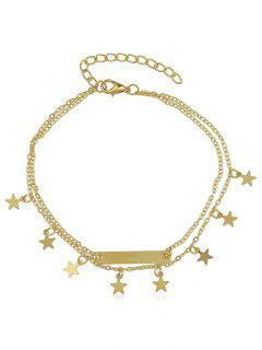 Layered Star Charm Anklet - Gold