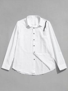 Seam Detail Stripe Patched Shirt - White Xl