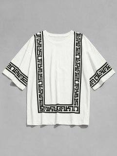 Square Print Crew Neck Casual T-shirt - White L