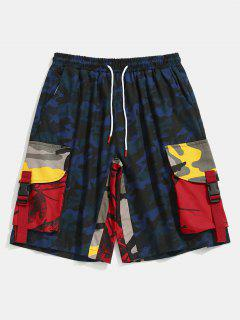 Contrast Camouflage Patch Pockets Shorts - Navy Camouflage Xs