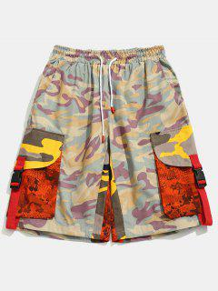 Contrast Camouflage Patch Pockets Shorts - Pink M