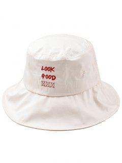 Fun Letter Embroidery Bucket Hat - Beige