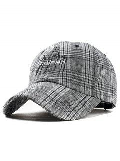 Letter Embroidery Plaid Graphic Hat - Black