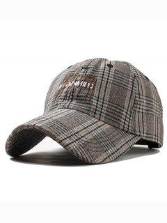 Letter Embroidery Plaid Graphic Hat - Coffee