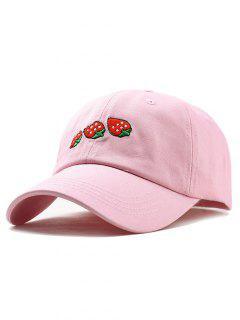 Sombrero De Béisbol único Del Bordado De La Fresa - Rosa