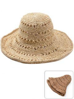 Hollow Out Foldable Straw Sun Hat - Camel Brown