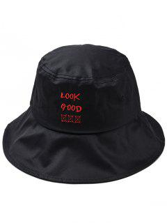 Fun Letter Embroidery Bucket Hat - Black