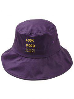 Fun Letter Embroidery Bucket Hat - Purple