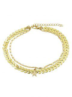 Double Layer Star Chain Anklet - Gold