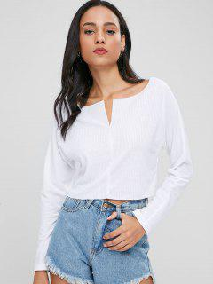 Cropped Ribbed Plain Top - White L
