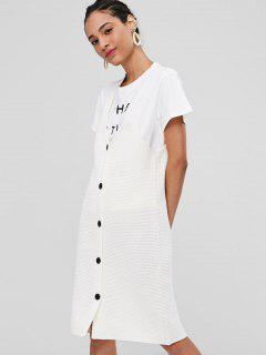V Neck Button Up Sweater Dress - White