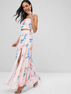 Lace Up Floral Slit Skirt Set - Pink Bubblegum L
