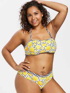 Plus Size Lemon Dots Halter Bikini - Multi 3x