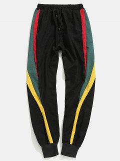 Color Block Patch Jogger Pants - Black M